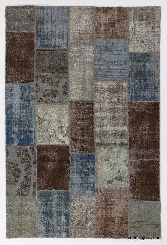 Handgemachte Turkische Patchwork Teppich Blau Braun Grau Etsy