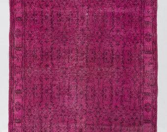 """Overdyed tapis 5'8 """"x 9'3"""" (175 x 283 cm) turque tapis fait à la main, rose Overdyed tapis"""