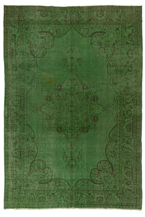 Green overdyed rug Dining Room Image Rugsville Green Overdyed Rug 79 115 240 350 Etsy