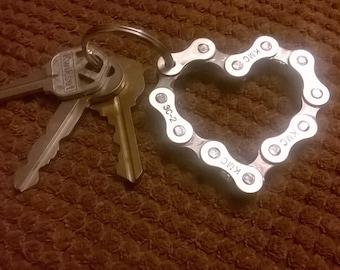 UpCycled Bike Chain Heart Keychain