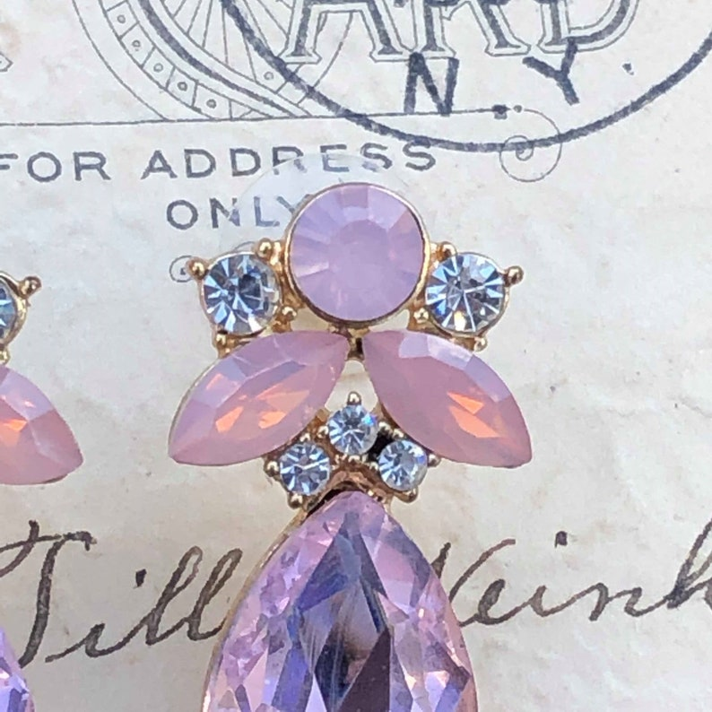 Pink Floral Earrings Pink Bridal Earrings Flower Drop Earrings Pink Earrings Pale Pink Earrings Pink Rhinestone Post Earrings