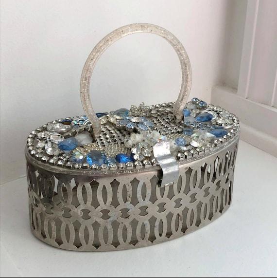 Vintage Metal Basket Purse with Glitter PlasticHan