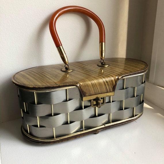 Vintage Woven Metal Basket Purse with Bakelite Han