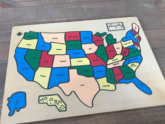 Puzzle Map Of The United States.Wooden State Puzzle Map Of The United States Wooden United Etsy