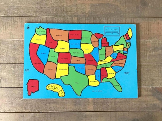 Wooden State Puzzle, Map of the United States, Wooden United States Map,  Vintage United States Map Puzzle, States and Capitals