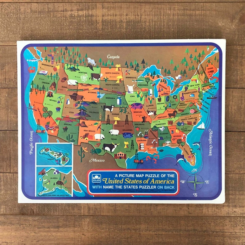United States Puzzle, Map of the United States, Vintage United States Map,  Vintage United States Map Puzzle, States and Capitals