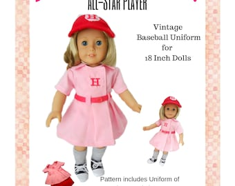 848796b6ab5 All Star Player Vintage Baseball Uniform 18 Inch Doll Clothes PDF Sewing  Pattern Instant Download