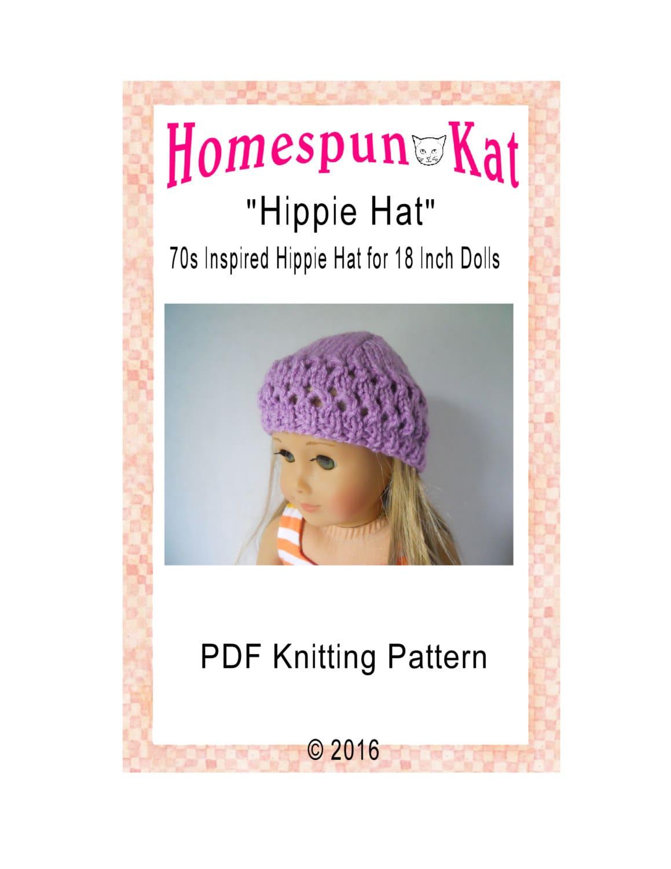 Knitted Hippie Hat 18 Inch Doll Clothing Knitting PDF Pattern  b404c67b127