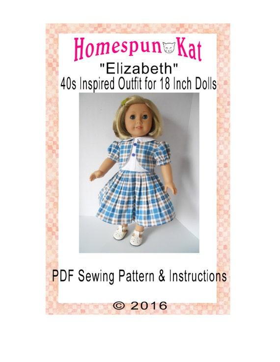 1940s Elizabeth Vintage Inspired Doll Clothing Sewing Clothing | Etsy