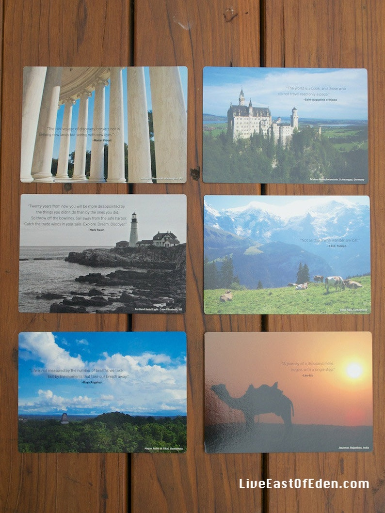 Blank 5x7 NOTE CARDS / POSTCARDS  assorted Travel Photographs image 0