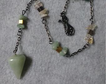 Green Aventurine and Citrine Pendulum Dowsing Pendulum Divination Pendulum Scrying Pendulum