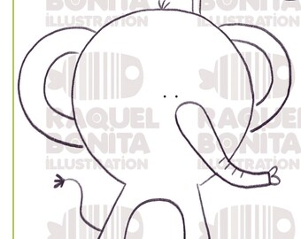 Digital stamp ELEPHANT ready to print   DIGISTAMP   SCRAPBOOKING   Adults & Kids