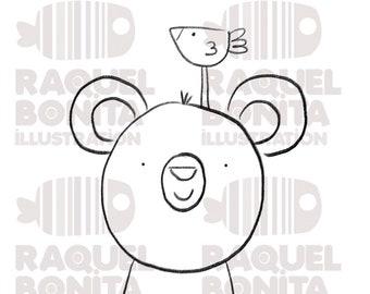 Digital stamp BEAR ready to print   DIGISTAMP   SCRAPBOOKING   Adults & Kids