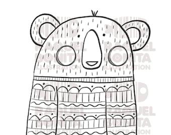 Digital stamp Warm BEAR ready to print   DIGISTAMP   SCRAPBOOKING   Adults & Kids