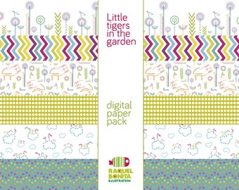 DIGITAL PAPER Collection   Little tigers in the garden   SCRAPBOOKING   decorative papers for print, cards, handcraft