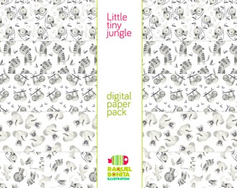 DIGITAL PAPER Collection   Little tiny jungle   SCRAPBOOKING   decorative papers for print, cards, handcraft