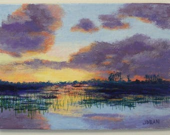 Savannah Sunrise 5x7 Original Landscape Painting