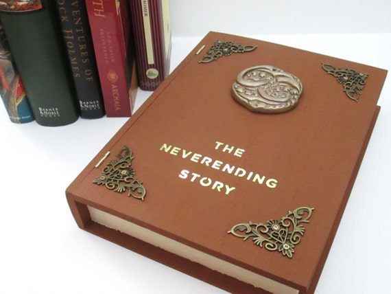 Neverending Story inspired book box wmolded Auryn emblem Made to Order