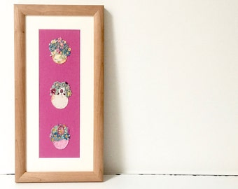 Framed hand embroidery - flowers artwork - decorative art - textile art - framed fabric art