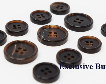 LARGE BUTTONS 25mm Brown Wood Effect SET OF 3