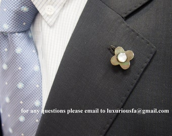 Smoke Mother of Pearl Lapel Boutonniere