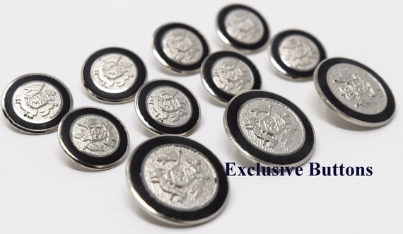 A Set of Antique Silver Metal Military Shield Blazer Buttons