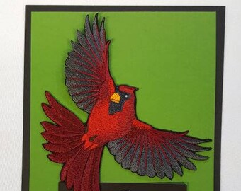 "Cardinal Bird Flying Embroidered Patch 4.8"" x 5"""