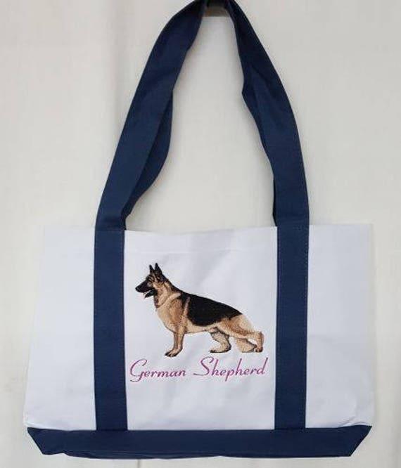 Tasche mit Schäferhund 1 und Namen bestickt