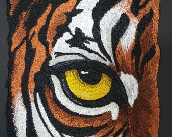 """Tiger Eye, Wild Animal, Exotic Cat Embroidered Patch 4.6"""" x 6.8"""""""