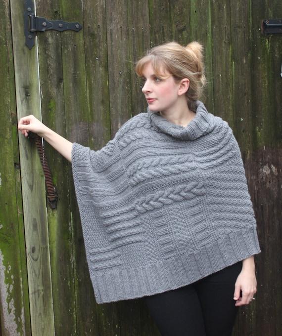 ReLuxe Wrap Pattern knit wrap poncho shawl using chunky