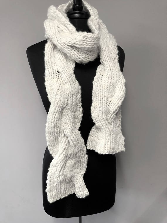 French Toast Scarf Pattern Reversible Cable Knit Scarf Using Etsy