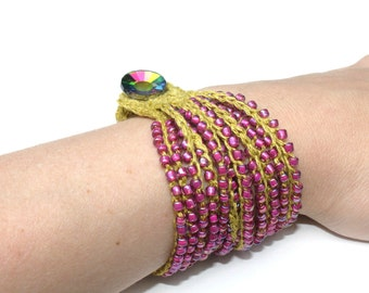 "Lyanna Bracelet Pattern - Bead Crochet Stranded Bracelet with Button Closure 6""-8.5"" finished measurements"