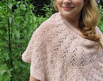 Wild Flowers Shawl Pattern - knit shawl using fingering weight yarn - knitted lace sampler U-shaped shawl
