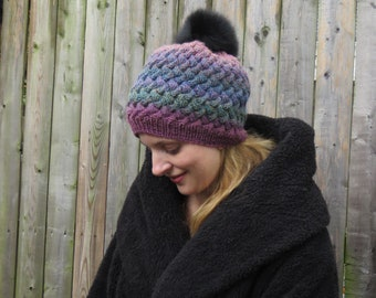 East River Hat - worsted weight all over woven cable knit hat knitting pattern for Adults in small medium and large knitted