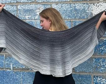 Calla Wrap Pattern - U shape subtly ruffled shawl with garter stripe texture using worsted yarn