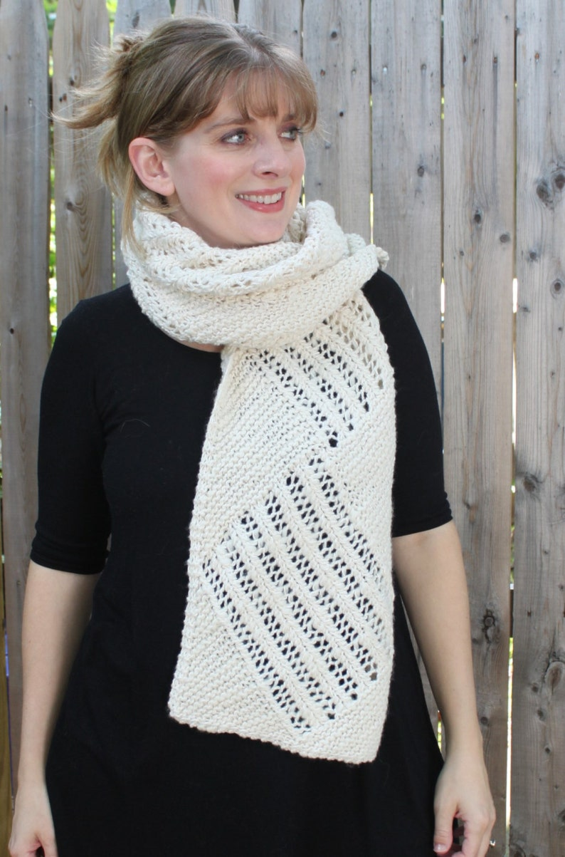 Nontrelac Scarf Pattern Knit Scarf With Lace Detail Using Etsy