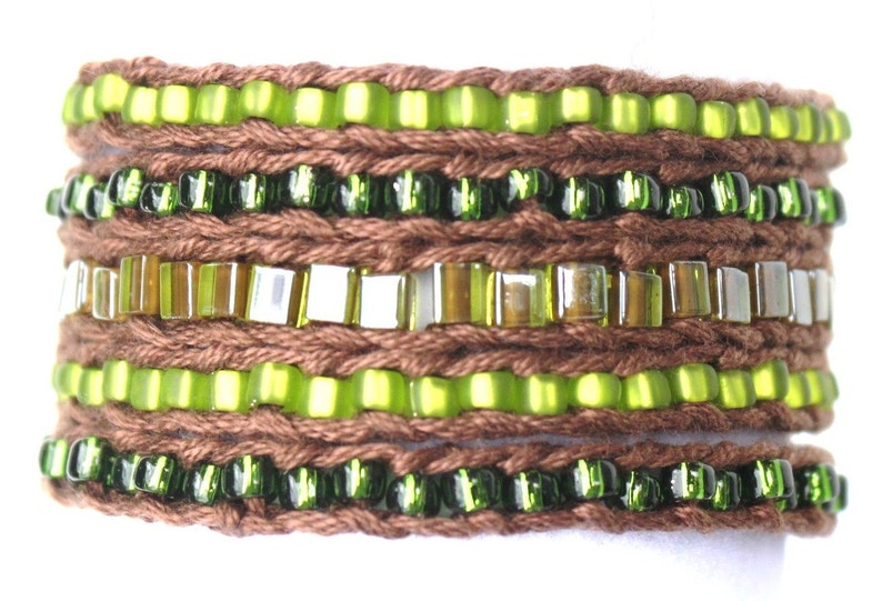 ed7035c75dcf1 LuLi Bracelet Kit - ENCHANTED FOREST (browns and greens) - bead knitted  wrap bracelet or necklace kit with button closure