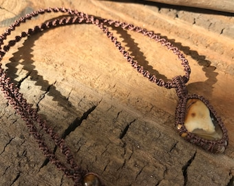 Brown Stone Pendant / Jasper Macramé Necklace