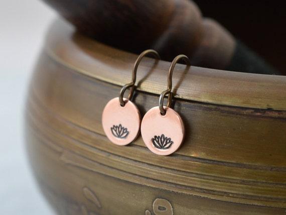 Lotus flower Dangles Mom gift Lotus flower earrings Yoga earrings Wire earrings Wire dangles Lotus flower jewelry Zen gift for her