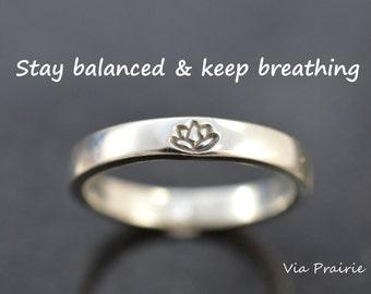 Lotus ring, Lotus flower ring, Yoga ring, Zen ring, Yoga jewelry, Yogi ring, Reminder ring, Zen gift for Her, 8 gauge band, Sterling silver