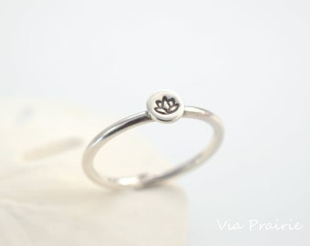 Lotus flower ring, Zen jewelry, Yoga ring, Yoga jewelry, Minimalist ring, Zen ring, Zen gift for her, 925 silver ring, 1.6 mm durable band