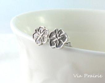 Hawaiian earring, Hawaiian jewelry, Hawaiian stud earring, Tiny stud earings - gift for her - 925 sterling silver, Hawaiian silver studs