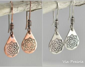 Mandala earrings, Copper dangles, Rustic Copper earrings, Tribal Zen earrings, Boho earrings, Mandala dangles, Yoga earrings for her, Copper