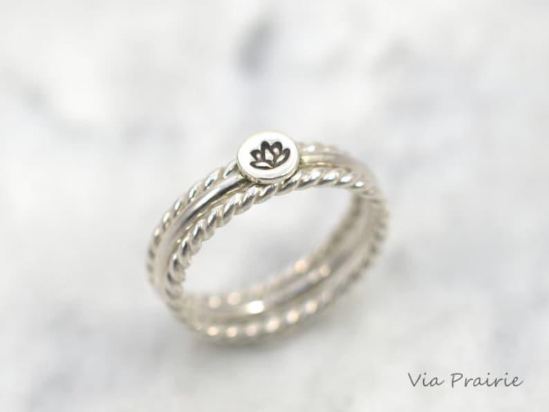 Lotus Flower Ring Lotus Stack Rings Yoga Ring Yogi Ring Etsy