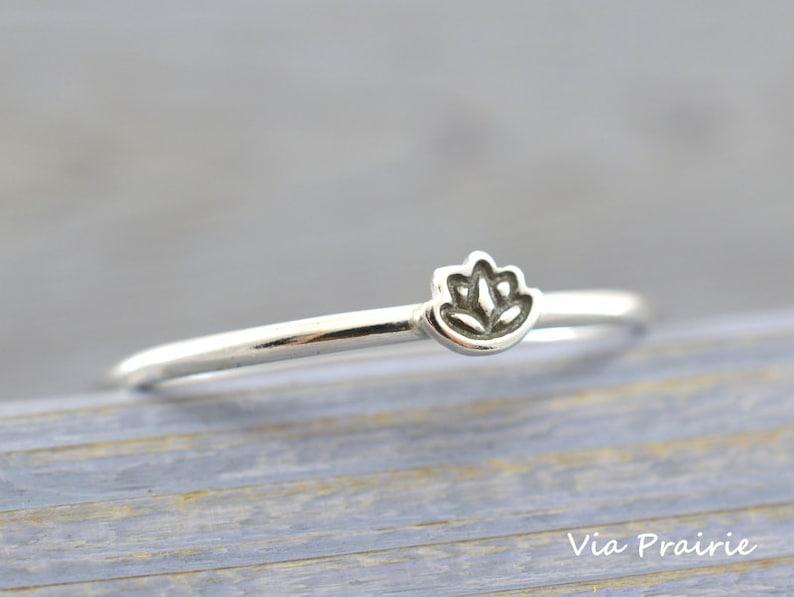Tiny Lotus Ring Midi Ring Knuckle Ring Skinny Dainty Ring Etsy
