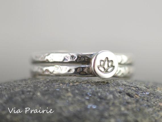 Namaste Lotus Flower Twist Yoga Silver Ring Adjustable Resizable UK