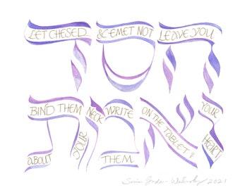 Proverbs 3:3 Handmade Calligraphy Painting by PasukArt, Philadelphia Artist Sonia Gordon-Walinsky