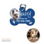 Bone Shaped Personalized Photo Pet Identification (ID) Tag 2 Sided Blue