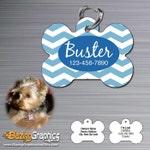 Personalized Pet ID Tag, Identification ID tag, cat dog name Tag, Pet Name Tag - bone shaped - chevron pattern