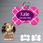 Personalized Pet Tag Identification ID tag cat dog name - bone shaped -  Hot Pink Quatrefoil pattern
